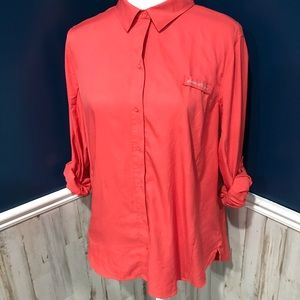 Eddie Bauer Coral Fishing Hiking Outdoor Button Up